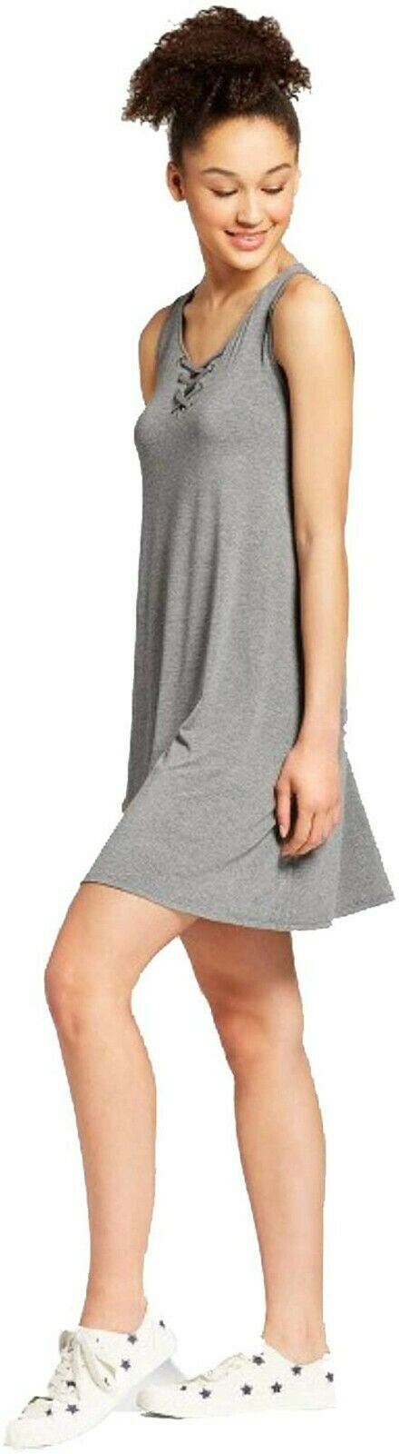 Mossimo Supply Co. Women's Lace-Up Sleeveless Dress – Gray -S Clothing, Shoes & Accessories