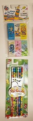 Boys Girls Dr. Seuss 6 count Bright Colors # 2 Pencils & Beveled Erasers - Dr Seuss Pencils