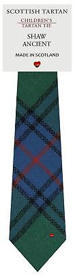 Boys Wool Tie in Scottish Woven Shaw Ancient Tartan Shaw Ancient Tartan