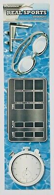 NIP SWIMMING THEMED REMINISCE CHIPBOARD STICKERS 3X9 INCH PACKAGE TEAM DIVE POOL