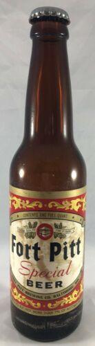 Fort Pitt Special Beer One Quart Paper Label Beer Bottle with Cap