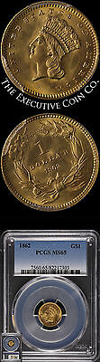 Click now to see the BUY IT NOW Price! 1862 TYPE 3 INDIAN PRINCESS GOLD $1 PCGS MS65 BLAZING GEM FANTASTIC LUSTER