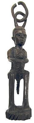 African Makonde Drummer Boy Tribal Art BlackWood Sculpture Hanging Chain 80's
