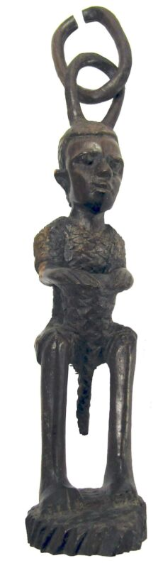 African Makonde Drummer Boy Tribal Art BlackWood Sculpture Hanging Chain 80