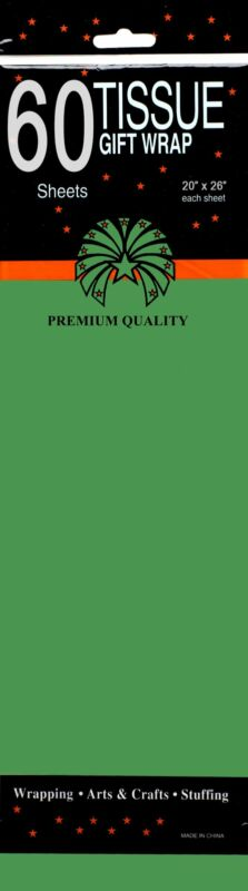 Tissue paper, Green, 60 Sheets, Case Pack of 24, Ideal for Bulk Buyers