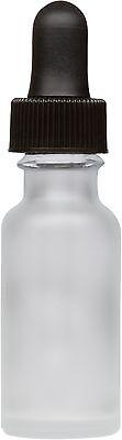 Frosted Glass Boston Round Bottle W Black Glass Dropper 0.5 Oz