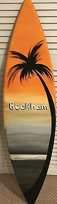 4ft WOOD SURF SURFBOARD DECOR Ornament PROP REPLICA Palm Tree Sunset SALE!!!!!