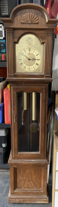 Vintage Tempus Fugit Grandfather Clock with Chime and Pendulum