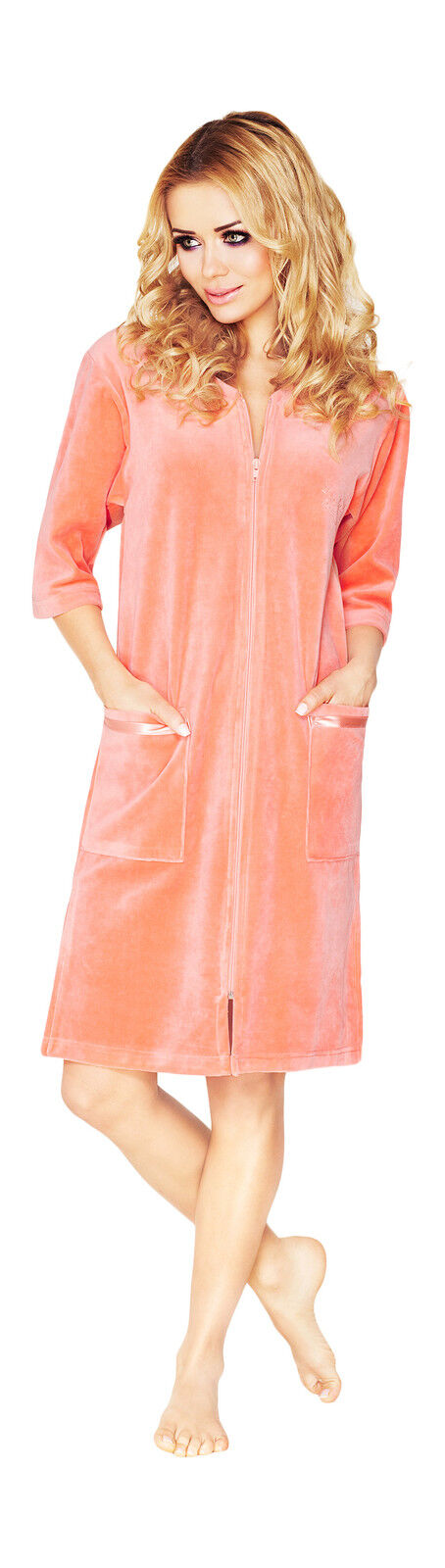 Womens Cotton Robe Housecoat Dressing Gown Dress Velour Bathrobe Zip ...