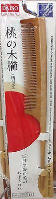 DAISO JAPAN peach wood comb with handle [Long] L18 cm