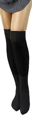Overknees Strümpfe warm Overknee Baumwolle Damen Socken Überknie farben lang m4