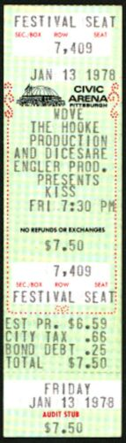 KISS (Band)-Gene Simmons-1978 Unused Concert Ticket (Pittsburgh-Civic Arena)