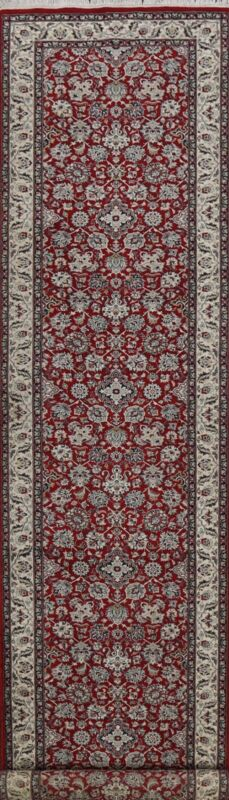 Vegetable Dye Traditional Floral Chinese Runner Rug Hand-knotted Hallway 3x14