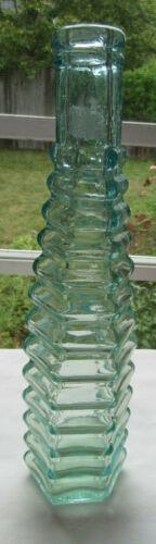 Antique E R Durkee & Co Greenish Aqua Spiral Peppersauce Bottle Pat 1874