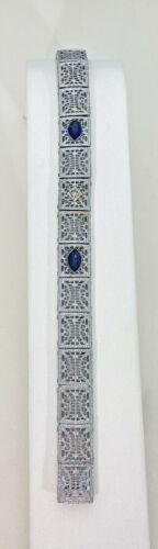 "Antique White Filigree Costume 7 1/2"" Bracelet Hidden Clasp 16.2 Grams"