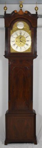 18th C. Mahogany Tall Case Clock Grandfather Clock by Thomas Clowes Rare