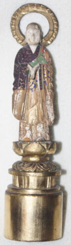 Chinese 19th Century Buddha Hand Carved Painted/Lacquered Wood Figure