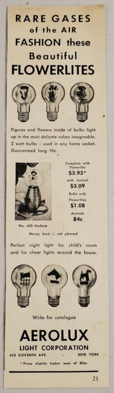 1949 Print Ad Flowerlites Figures & Flowers Inside Bulb Aerolux Light NY,NY