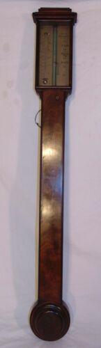 Antique Georgian English Mahogany Stick Barometer Thermometer C West Liverpool