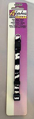 "NEW Aspen Pet Small Dog Puppy Cat Kitten Collar 8"" to 14"" Black White Zebra"