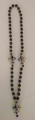 Mardi Gras Fleur De Lis Beaded Necklace in Black and Gold, Novelty](Black And Gold Mardi Gras Beads)
