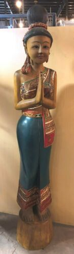 WOODEN STATUE ASIA INDIA WOMAN 6