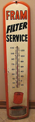 Old Fram Oil Air Filter Service Thermometer Gas Auto Advertising Sign Providence