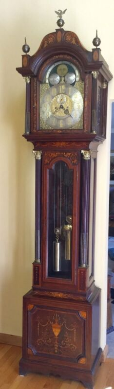 ANTIQUE INLAID MARKED TIFFANY & CO. GRANDFATHER CLOCK