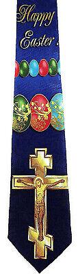 Easter Cross Men's Necktie Jesus Christian Religious Holiday Egg Blue Neck Tie  - Easter Christian