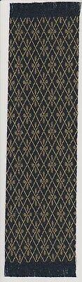 Dollhouse Miniature Woven Carpet Runner / Rug Black with Gold and Diamond Design for sale  Branchville