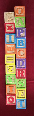 """Vintage Baby Blocks Toy 1 3/4"""" Wood Numbers Alphabet Letter Learning Lot 19 GC"""