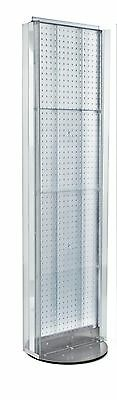 New Clear 2 Sided Pegboard Floor Display Stand With Revolving Base 16w X 60 H