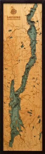 "LAKE GEORGE, NY 13.5"" x 43"" New, Laser-Cut 3-Dimen Wood Chart / Lake Art Map"