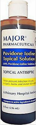 MAJOR Povidone Iodine 10% SOLUTION 8oz Hospital Grade*** 10 Povidone Iodine Solution