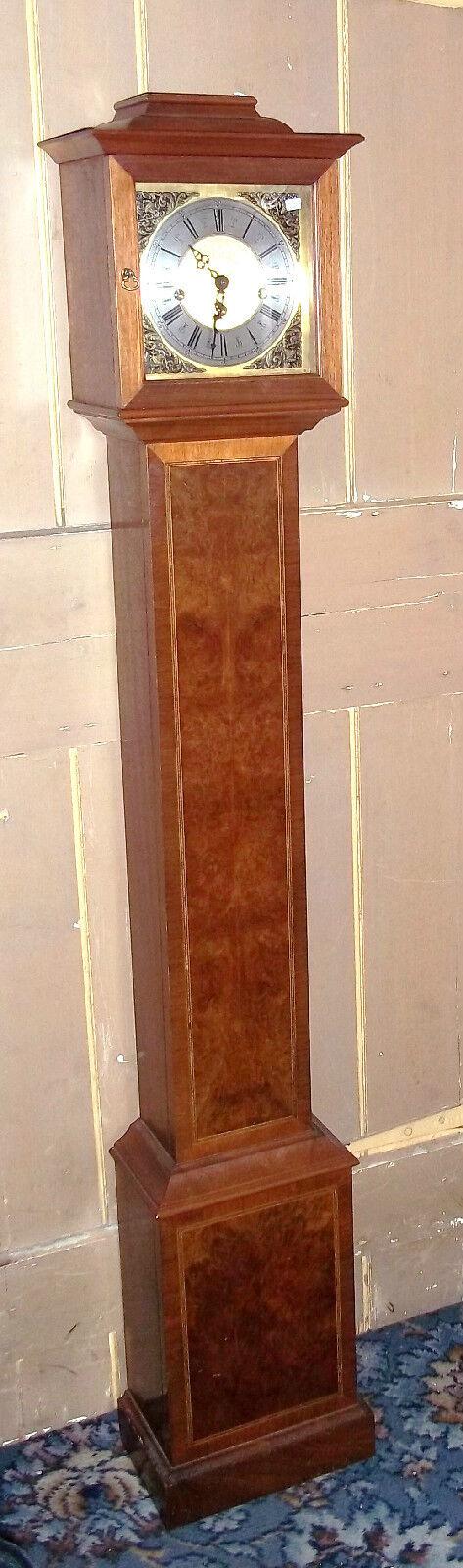 SMALL ELEGANT WESTMINSTER CHIMING WALNUT INLAID GRANDMOTHER CLOCK