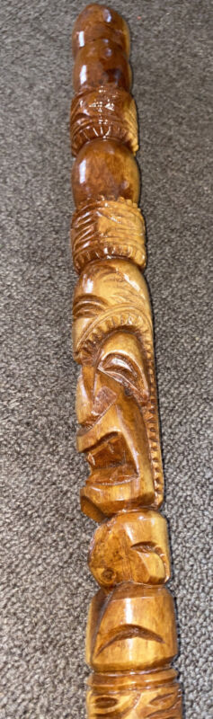 HAWAII MILO WOOD CARVED HAWAIIAN TIKI WALKING STICK CANE BEAUTIFUL ART
