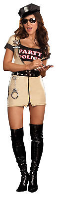 Party Police Adult Women's Costume Stretch Knit Zip Front Fancy Dress Dream Girl](Girls Police Woman Costume)