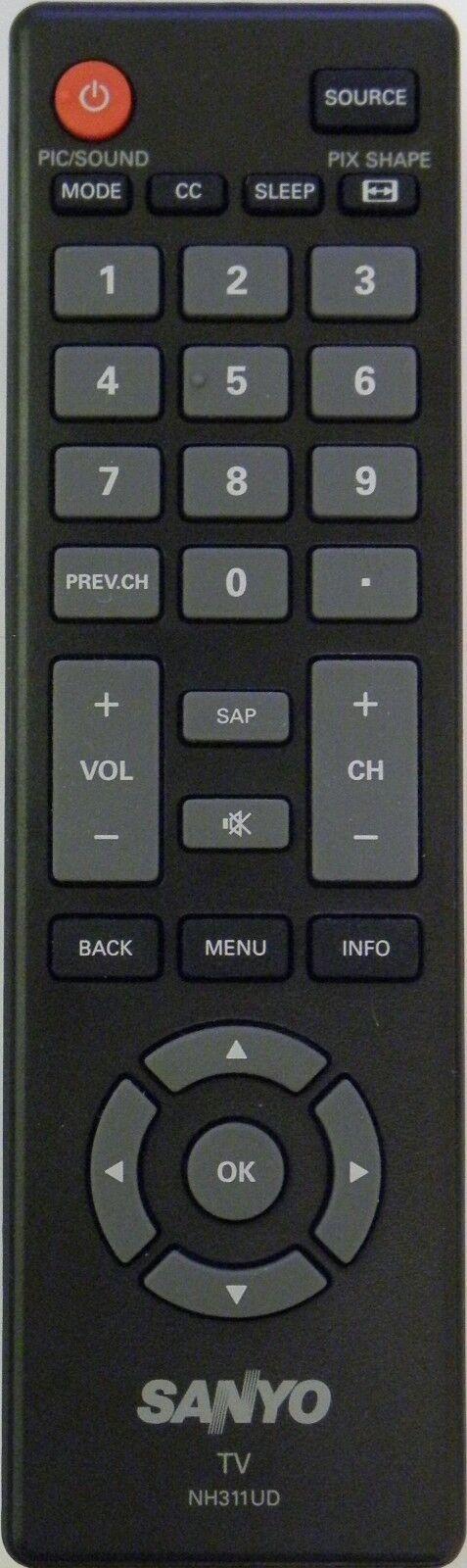 SANYO NH311UD TV Remote Control - BRAND NEW Original SANYO N