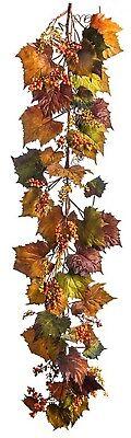 Fall Leaf Garland (Artificial Fall Pumpkin Leaf Garland w/Berries Autumn Harvest Thanksgiving 6)
