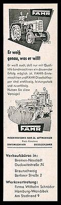 Alte Werbung 1957 Erntemaschinen Diesel-Schlepper Traktor FAHR (2) Gottmadingen