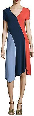 NWT $395 TORY BURCH Walden Colorblock Asymmetric Dress Size Large