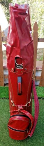 MacGregor Vintage Leather Golf Bag- Red/  J-62/ 90472-87