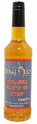 Pineapple Snow Cone Syrup - Made With Pure Cane Sugar - Monkey Juice Brand