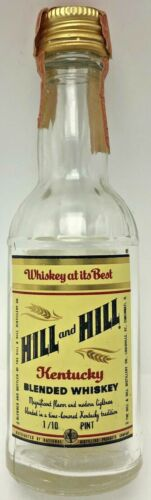 Vintage Miniature Hill and Hill Kentucky Blended Whiskey Bottle 1/10 Pint Empty