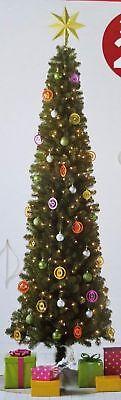 NEW 9 FOOT Pre-Lit SLIM Alberta Spruce Christmas Tree Clear Lights PreLit 9' Slim Christmas Tree