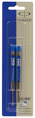 Parker Quink Retractable Gel Blue Ink Refills Medium 0.7mm Point 2pk