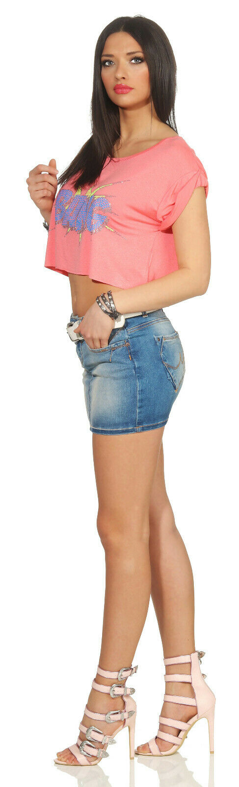 Damen Top Partyshirt Cropped Shirt Fitness Sporttop Bauchfrei Strass 36/38