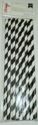 Party Black & White Stripes Straws Package 16 Disposable St Valentine Brand](Black And White Straws)