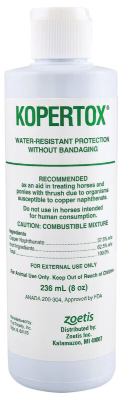 Kopertox Copper Treatment Footrot Trush Water Resistant  Horse and Hoof Care 8oz