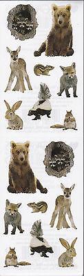 Mrs. Grossman's Stickers - Baby Woodland Animals - Photo Deer, Bear - 4 Strips - Photo Stickers